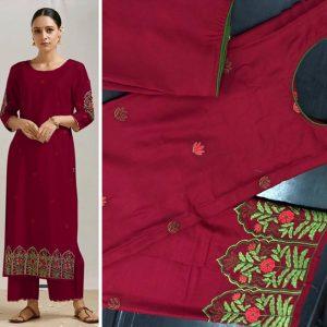 Rayon Cotton Stitch Dress - FG2694 | Maroon