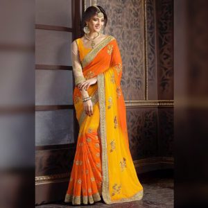 Georgette Embroidered Saree - FG2680   Yellow