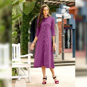 Khadi Cotton Stitch Kurti - FG2741 | Dark Purple