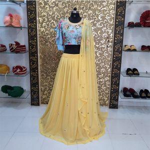 Georgette Lehanga Blouse&Dupatta - MPP1642   Yellow
