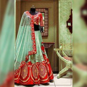 Silk Lehanga Un-Stitch Blouse- FG2717 | Red