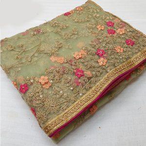 Net Embroidered Saree - FG2703   Sea Green