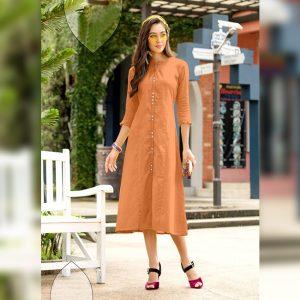 Khadi Cotton Stitch Kurti - FG2741 | Orange