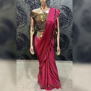 Vichitra Silk Sequence Saree - FG2718   Magenta
