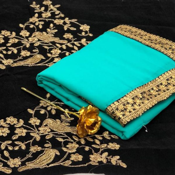 Georgette Embroidered Saree - FB4257 | Sky Blue