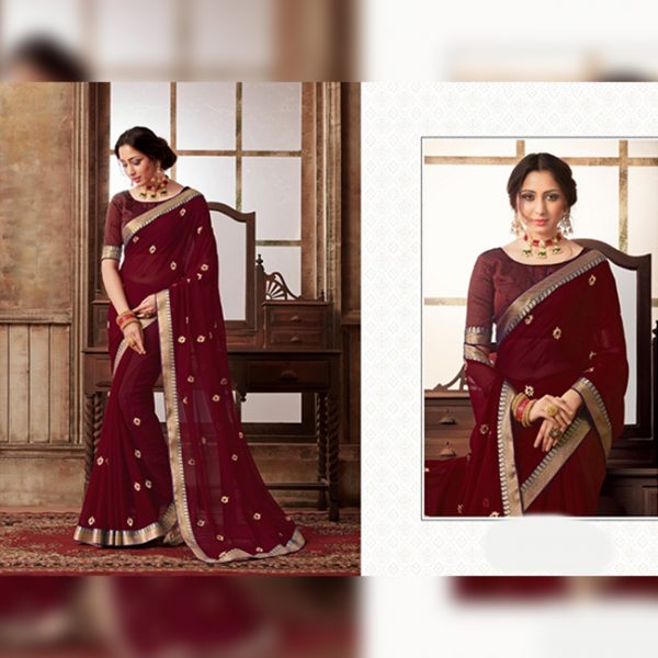 Chiffon Flower work saree - MPP1651 | Maroon