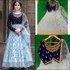 Velvet+Georgette stitched Gown - FG2708 | Light Blue