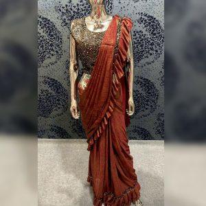 Vichitra Silk Sequence Saree - FG2718   Brown
