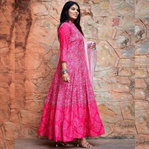 Banglori Silk Gown - FG2710 | Pink | CC-03