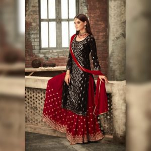 Georgette Work Dress Material - FG2639 | Black | CC-05