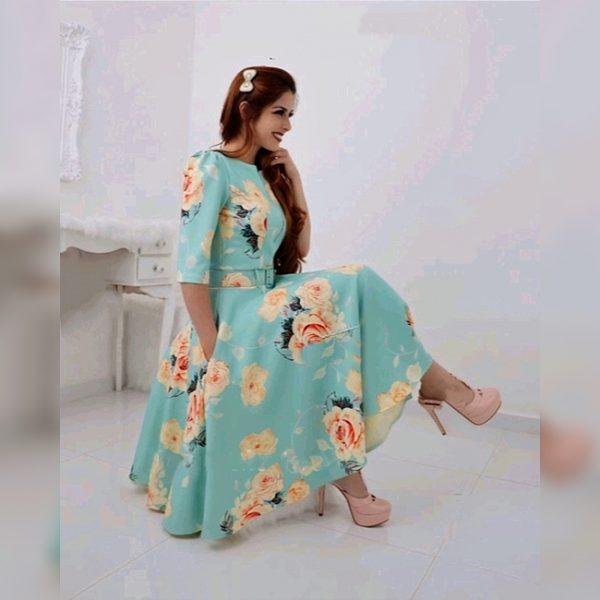 Stretchable Fabric Dress - FG2625 | Light Green