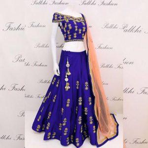 Taffeta Silk Lehanga Choli&Dupatta - MPP1574 | Royal Blue