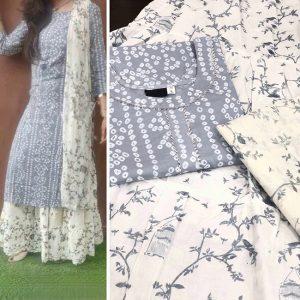 Bandhej Rayon Cotton Dress - FG2643 | Gray