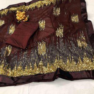 Nylon Net Work Saree - FG2642   Dark Brown