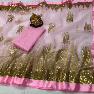 Nylon Net Work Saree - FG2642   Pink