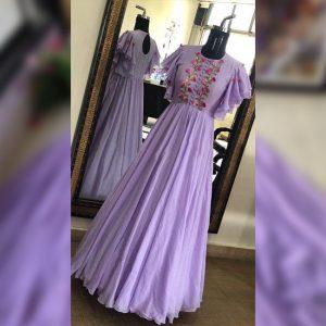 Georgette Stitched Gown - FG2671 | Purple