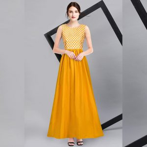 American Crepe Stitch Gown - FG2736 | Yellow