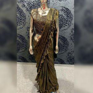 Vichitra Silk Sequence Saree - FG2718   Green
