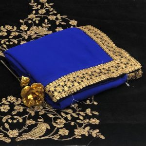 Georgette Embroidered Saree - FB4257 | Royal Blue