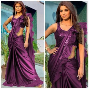 Rangoli Silk Ruffle Saree - FB4256 | Purple