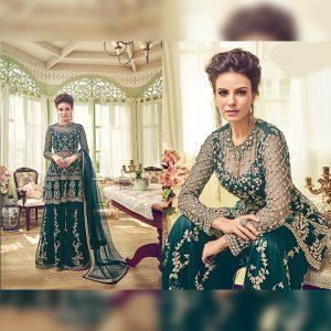 Net Semi Stitch Dress - FG2683 | Green
