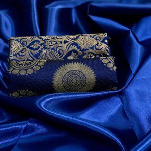 Satin Double Blouse Saree - FB4255 | Blue | CC-02