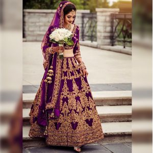 Velvet Lehanga Blouse&Dupatta - FG2690 | Purple