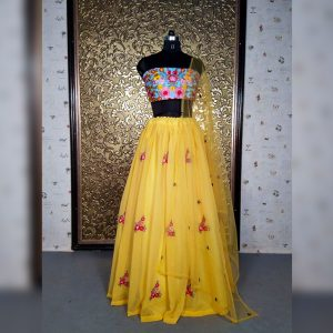 Georgette Lehanga Blouse&Dupatta - MPP1638   yellow