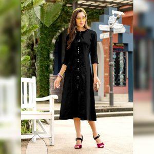 Khadi Cotton Stitch Kurti - FG2741 | Black