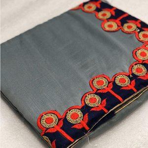 Vichitra Silk Coding Saree - FG2691   Gray