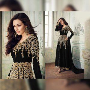Georgette Semi Stitched Dress - FG2688 | Black