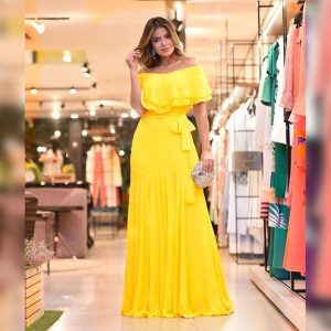 Faux Georgette Stitch Gown - MPP1687 | Yellow
