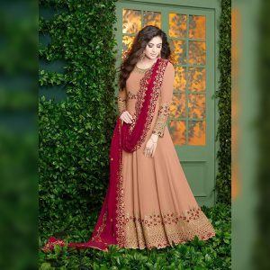 Georgette Embroidered Dress - FB4254 | Orange