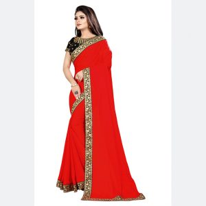 Georgette Embroidered Saree - MPP1592   Red