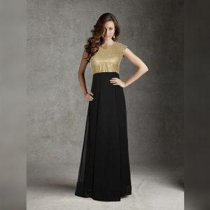 Georgette Stitch Gown - FG2737 | Black