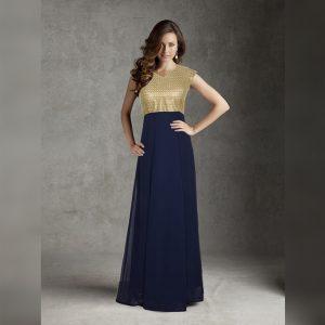 Georgette Stitch Gown - FG2737 | Navy Blue
