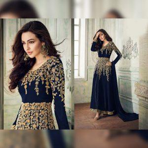 Georgette Semi Stitched Dress - FG2688 | Blue