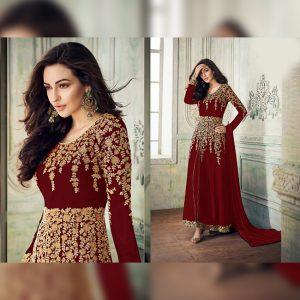 Georgette Semi Stitched Dress - FG2688 | Red
