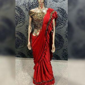 Vichitra Silk Sequence Saree - FG2718   Red