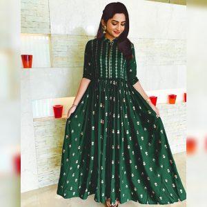 Rayon Stitched Dress - MPP1616 | Dark Green