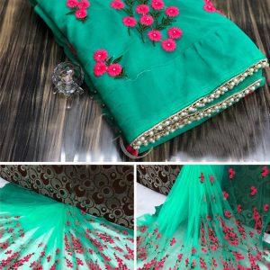 Net Embroidered Saree - MPP1621   Green