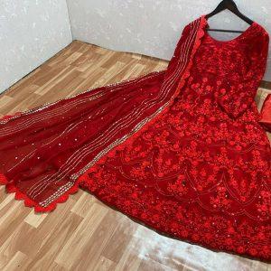 Georgette Semi Stitched Dress - FG2679 | Red
