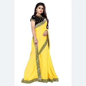 Georgette Embroidered Saree - MPP1592   Yellow