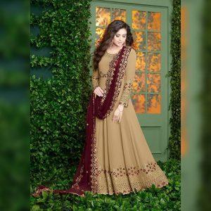 Georgette Embroidered Dress - FB4254 | Light Brown