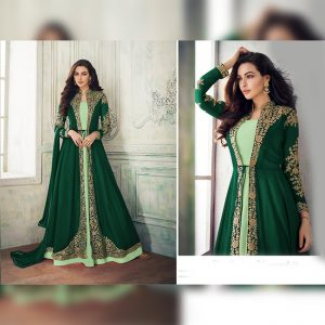 Georgette Coding Embroidery Dress - FG2689 | Green