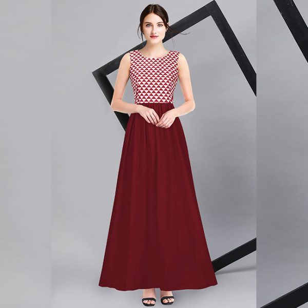 American Crepe Stitch Gown - FG2736 | Maroon
