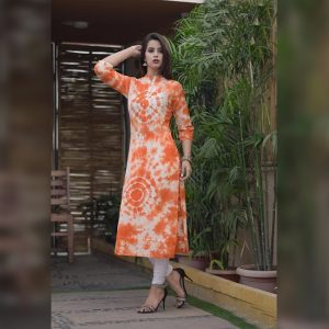 Cotton Slub Stitch Kurti - FG2797 | Orange | CC-03
