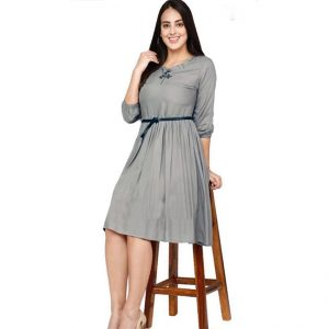 Rayon Hand Work Stitch Dress - FG2874 | Gray