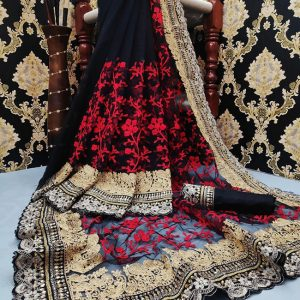 Net Embroidered Saree - FG2832 | Black