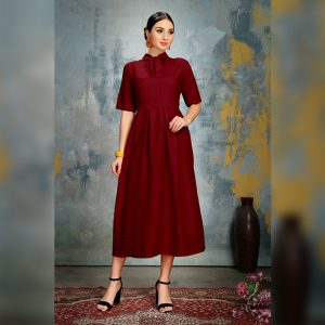 Heavy Crepe Dress - FG2868 | Maroon